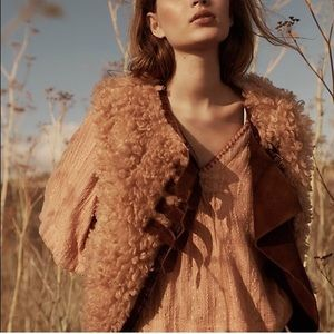 Free People Greta leather and faux fur vest NWOT